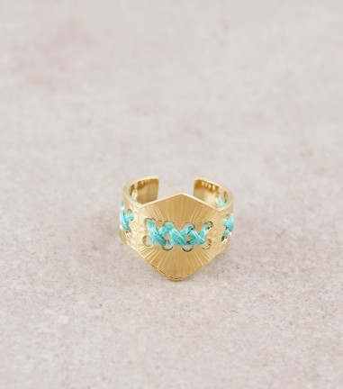 Turquoise gold Ghat ring