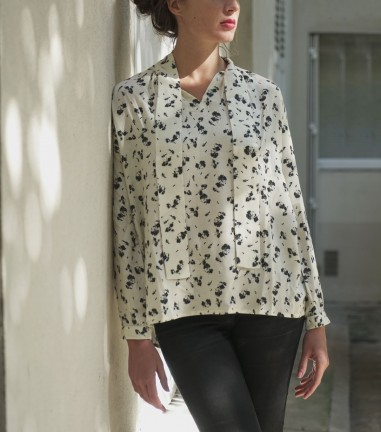 Black and white floral pussy bow blouse