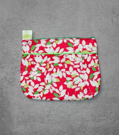 Pink Foliage pleated pouch