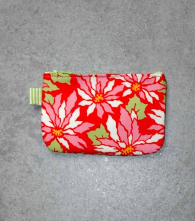 Red Flowers zip purse