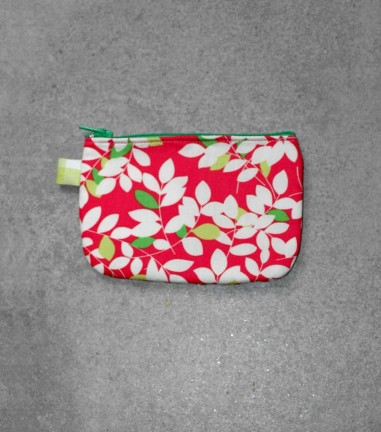 Pink Foliage zip purse