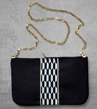 Black graphic handbag