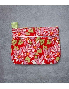 Red Flowers pleated pouch