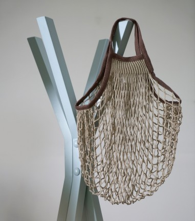 Beige and brown net shopping bag