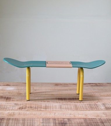 Blue and yellow Skateboard bench